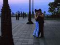 Young silent dancers at dusk in Mariïns'kyy Park, Kyiv, Ukraine