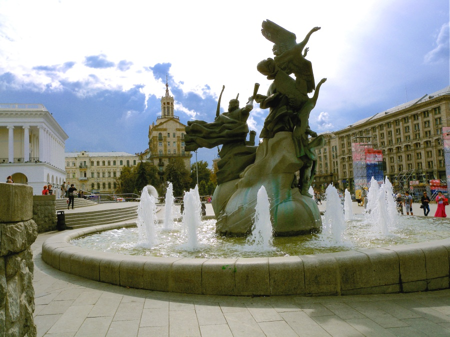Fountain on Independence Square, Kyiv, Ukraine